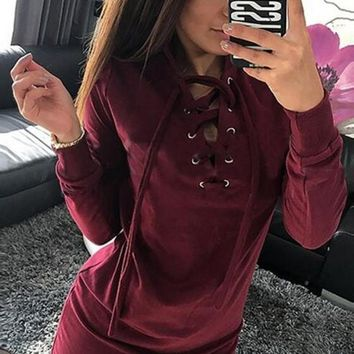 New Women Plain Drawstring Metal Grommets Long Sleeve Fashion Mini Dress