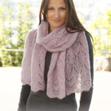 Hand Knitted shawl / scarf / shoulder wrap with lace pattern for women