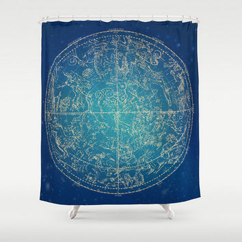 Zodiac Shower Curtain Constellation Stars Zodiac Sign Design Dark Blue Navy Pillow  Home Bath Room Unique Decor