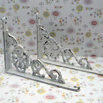 Wall Bracket Cast Iron Shelf Ornate Brace Shabby Chic White / White Decorative Brackets Distressed 1 Pair (2 individual brackets)