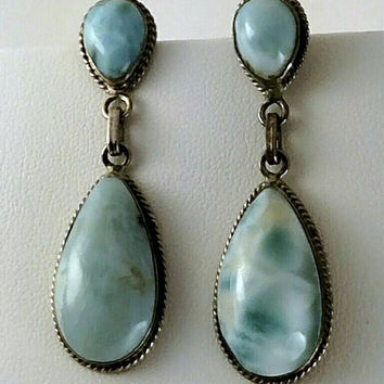 Vintage Larimar Post Earrings Dominican Republic 1990