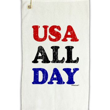 "USA All Day - Distressed Patriotic Design Micro Terry Gromet Golf Towel 11""x19 by TooLoud"
