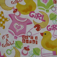 Baby Girl Fabric Baby Girl Cotton Fabric Remnant of 1 1/2 yard