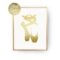 Ballet Shoes Print, Real Gold Foil Print, Gold Shoes Print, Ballet Dancer, Nursery Decor, Girls Room Decor, Ballet Wall Art, Bedroom Poster