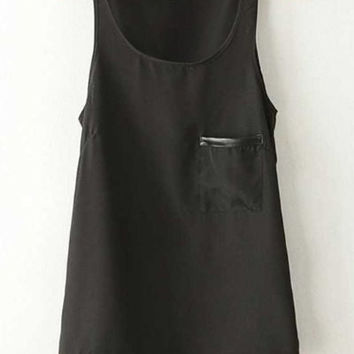 Solid Color Patch Pocket Dip Hem Chiffon Tank Top