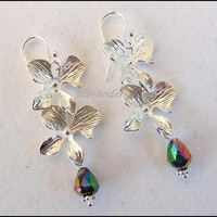 Peacock Blue Orchid Flowers Earrings, Faceted Aurora Borealis Crystals