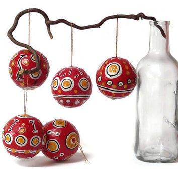 Red hand made ornament. home decor ornament. Mexican design. Christmas hand painted red pattern bauble. Hanging ornament.