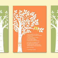 "Love 1 Corinthians 13 Print - Custom Love Bird Family Tree and Family Tree Children Prints - Set of three art poster prints - 5""x7"""