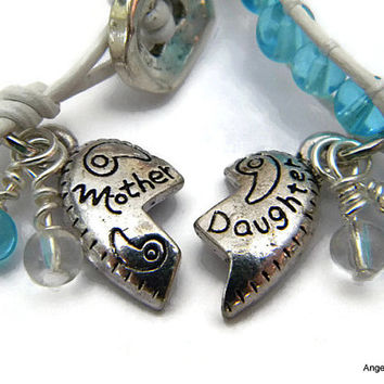 Mother Daughter Bracelet Set Ice Blue and Clear Bracelets Glass Beads Leather Wrap Bracelet Single Wrap with Glass Beads
