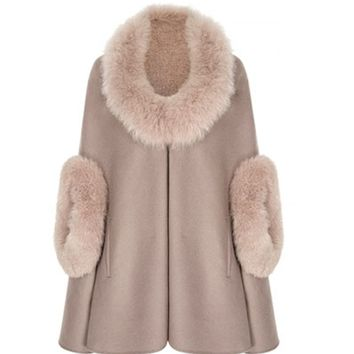 Fur Trimmed | Wool Cashmere | Cape | Suzannah | Mink Fur Cape
