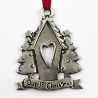 Pewter Our First Christmas Ornament
