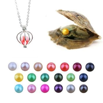 Akoya Pearl Oysters with Round 7-8 mm Love Wish Natural Freshwater Pearl and Necklace Set as Birthday Gift