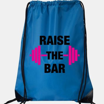 "Drawstring Gym Bag  ""Raise The bar""  Funny Workout Squatting Gift"