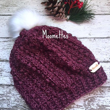 Handmade Crochet Slouchy Beanie Heather Red Rose  Puff Stitch White Faux Fur Pom Pom Hat Wood Button