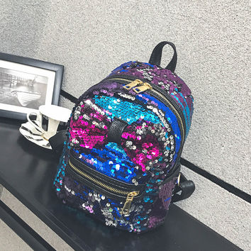Small Women Sequins Drawstring Backpack Big Bow ladies Shoulder Double Color Sequins
