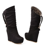 Mid-Calf Women's Wedges Flock Boots Round Toe Boots