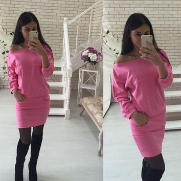 Pink Off-Shoulder Long Sleeves Top And Pencil Skirt With Pocket