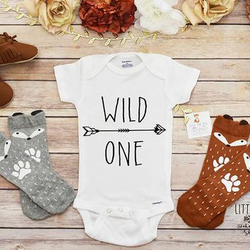 Baby Boy Outfit, First Birthday Boy, Wild One Shirt and Fox Socks