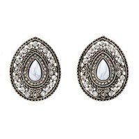 Silver Vintage-Inspired Marbled Stone Earrings by Charlotte Russe