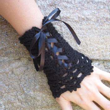 Corset Cuffs Wrist warmers manchette crocheted arm warmers knitted lace crochet wool alpaca steampunk victorian gothic satin ribbon