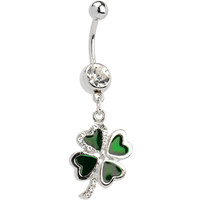 Crystalline Gem LUCKY 4 LEAF CLOVER Dangle Belly Ring | Body Candy Body Jewelry