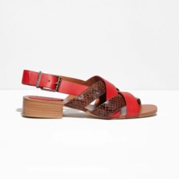 & Other Stories | Low Heel Leather Sandals | Red