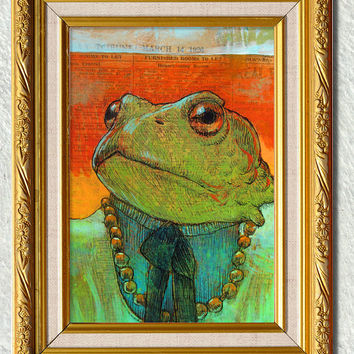 The Landlord Frog -Mixed Media 1920's newspaper series -pen and ink with acrylic paint 1926