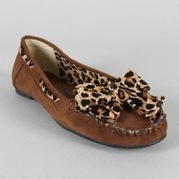 Masai Leopard Bow Moccasin Round Toe Flat