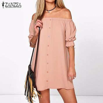 ZANZEA Women 2017 Sexy Off Shoulder Mini Party Dress Ladies Half Sleeve Strapless Dresses Casual Loose Vestidos Plus Size