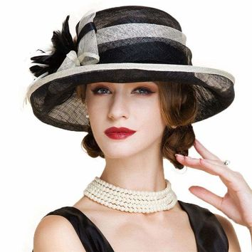 Black And White Church Linen Fedora Wedding Fascinators Wide Brim Bow Floral Kentucky Derby Hat