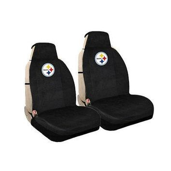 Licensed Official New NFL Pittsburgh Steelers Universal Fit Car Truck Front Sideless Seat Covers