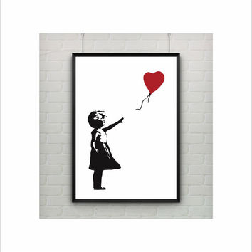 Girl With Balloon by Banksy Print / Abstract / Graffiti / US Letter - A4 up to A0 size / Minimalist Art / Wall Art / Girls Kids Room Decor
