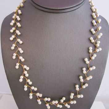 Pearl Wedding Necklace Pearl Vine Necklace Adjustable Length Feminine Summer Jewelry