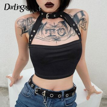 Darlingaga Cotton Halloween punk choker halter top women cami backless buckle crop top clothes camisole sexy tops cropped gothic