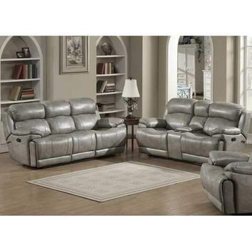 Estella Contemporary Sofa and Loveseat w/ Storage Console,  2-Piece Set