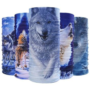 Wolf Pattern Multi-functional Magic Animal Headband Muffler Cap Bandana Scarf Combat Neck Warmer Sun Face Shield Mask Snowboard