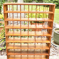 Rit Dye Rack, Wood Divided Store Rack, Vintage Fabric Dye Display