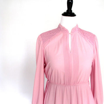 Shear blossom pink and lace - Plus size Dress- Vintage-xl