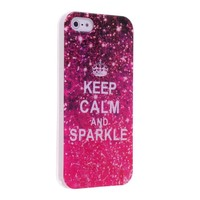 Okeler Keep Calm and Sparkle Shine Blink TPU Soft Case Cover for Apple iPhone 5 5S with Free Pen