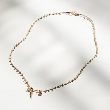 Free People 14k Diamond Charm & Silk Pearl Necklace