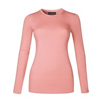 LE3NO Womens Basic Lightweight Fitted Long Sleeve Round Neck Cotton Shirt with Stretch