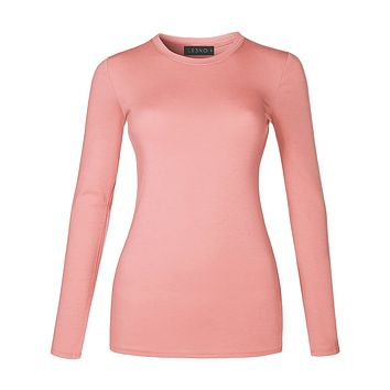 Basic Lightweight Fitted Long Sleeve Round Neck Cotton Shirt with Stretch