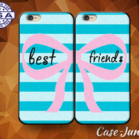 Blue Best Friends Pair Matching Case BFF Bow Striped Cute Case For iPhone 4 and 4s and iPhone 5 and 5s and 5c and iPhone 6 and 6 Plus +