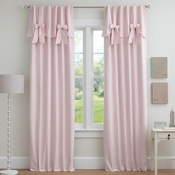 Evelyn Linen Blend Bow Valance Blackout Panel | Pottery Barn Kids