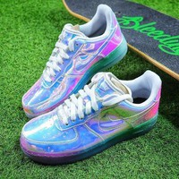 VONE7Y2 Nike Air Force 1 Low New York City NYC Ice Blue Sliver Iridescent Sport Shoes 779456-991 Sneaker