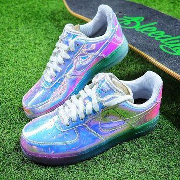 DCCKU62 Nike Air Force 1 Low New York City NYC Ice Blue Sliver Iridescent Sport Shoes 779456-991 Sneaker