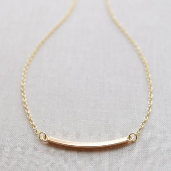 Simple Curved Bar Necklace