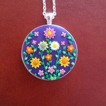 purple floral necklace,wife gift,purple flower necklace,polymer clay pendant,colorful statement necklace,purple boho necklace,hippie jewelry
