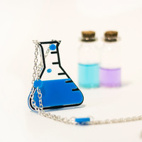 Geek Jewelry, Potion Necklace,Back to school Jewelry,Lasercut Acrylic