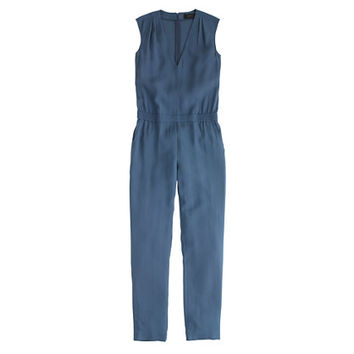 J.Crew Womens Petite Drapey Oxford Crepe V-Neck Jumpsuit
